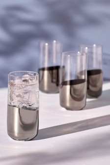 Set of 4 Silver Effect High Ball Glasses