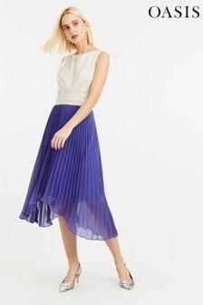 Oasis Blue Pleated Midi Dress