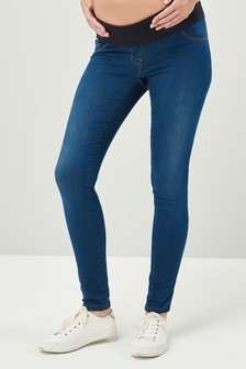 Maternity Half Narrow Bump Band Denim Leggings