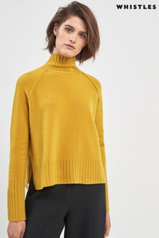 Whistles Yellow Funnel Neck Sweater