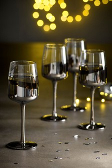 Set of 4 Silver Effect Wine Glasses