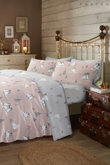 Fusion Brushed Cotton Flannel Fluffy Penguins Duvet Cover and Pillowcase Set