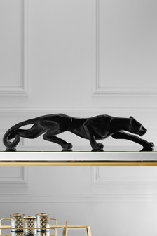 Flocked Panther Sculpture