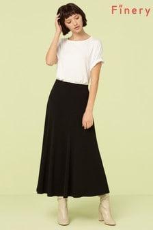 Finery London Black Roxley Crepe Midi Skirt