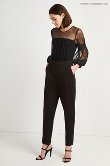 French Connection Black Puff Sleeve Jumpsuit