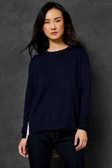 Ted Baker Jaymes Navy Knit Jumper With Pleat Stripe Back