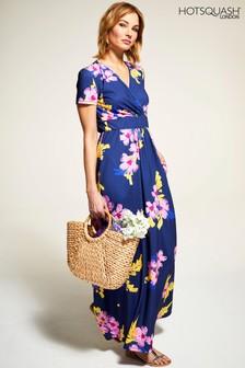 HotSquash Blue Floral Short Sleeved Empire Line Maxi Dress