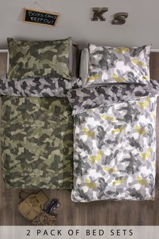 2 Pack Camouflage Bed Set