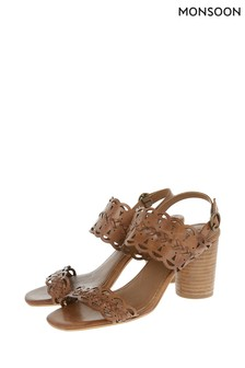 031f3fcc6135 Monsoon Ladies Tan Talia Two Band Leather Cut-Out Sandal