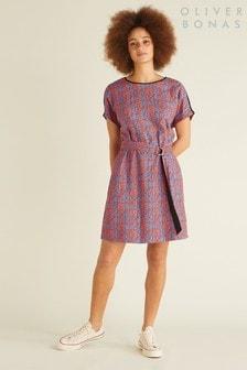 Oliver Bonas Teal Leafy Tunic Dress