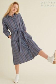 Oliver Bonas Blue Gingham Shirt Midi Dress