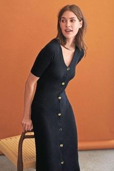Button Through Midi Dress