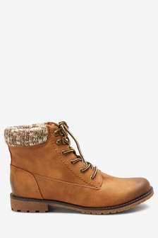 Knit Detail Lace Up Boots
