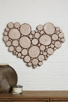 Wooden Effect Heart Plaque