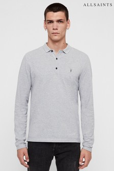 AllSaints Grey Marl Long Sleeve Reform Polo Shirt