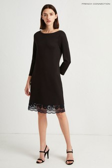 French Connection Black Jersey Lace Trim Dress