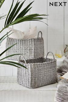 Set of 2 Wicker Effect Baskets