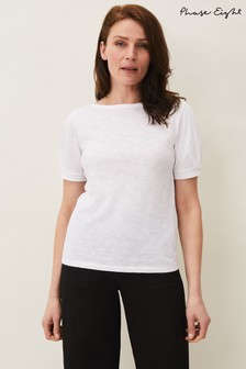 Phase Eight White Elspeth Puff Sleeve Top