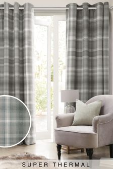 Cosy Check Eyelet Super Thermal Curtains