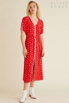 Oliver Bonas Red Ditsy Print Midi Dress