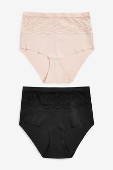 High Waist Lace Shaping Knickers Two Pack