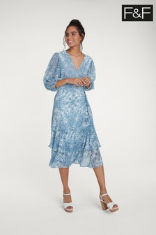 F&F Blue Paisley Wrap Dress