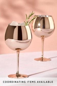 Set of 2 Metallic Rose Gold Effect Gin Glasses