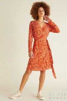 Oliver Bonas Orange Tiger Print Dress