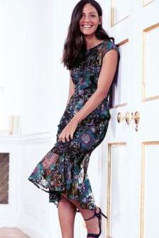 Embroidered Flute Hem Dress