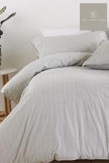 The Linen Yard Grey Linear Duvet Cover And Pillowcase Set