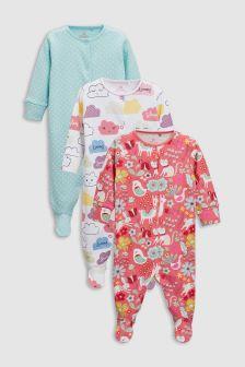 Llama Print Sleepsuits Three Pack (0mths-2yrs)
