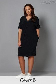 Live Unlimited Cupro Mandarin Collar Dress