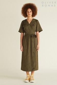 Oliver Bonas Green Palm Jacquard Dress