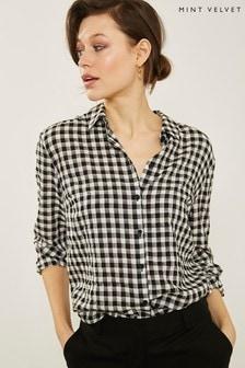 Mint Velvet Black/Ivory Gingham Shirt