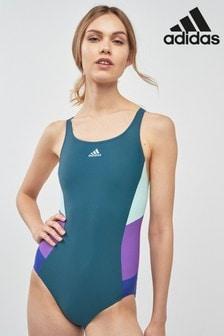adidas Green/Mint/Purple Colourblock Swimsuit