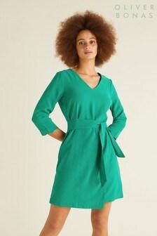 Oliver Bonas Green Scallop Cuff Dress