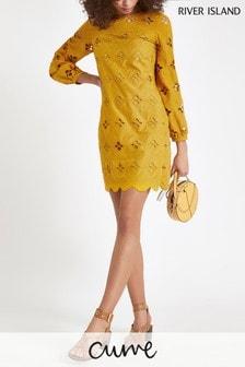 River Island Yellow Cutwork Swing Dress