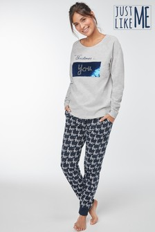 Womens Matching Family Sequin Slogan Pyjamas