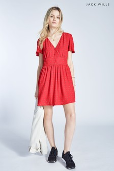 Jack Wills Red Teagan Fluted Sleeve Tea Dress