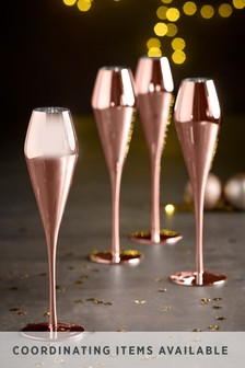 Set of 4 Metallic Champagne Flutes