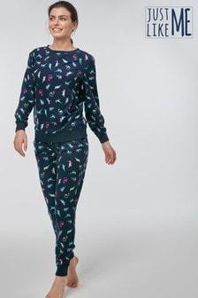 Womens Matching Family Navy Dinosaur Pyjamas