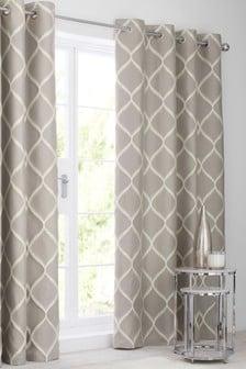 Ikat Geo Jacquard Eyelet Lined Curtains