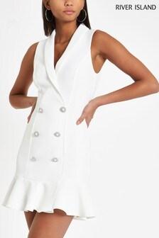 River Island Ivory Bodycon Tuxedo Frill Hem Dress