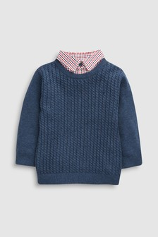 Mini Cable Knit Mockshirt (3mths-6yrs)