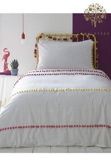 Appletree Pom Pom Stripe Duvet Cover and Pillowcase Set