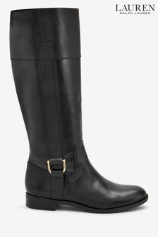 Ralph Lauren Black Leather Embossed Logo Boots