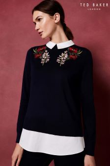 Ted Baker Navy TORIEY Embroidered Knit Jumper