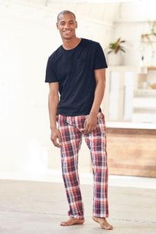 Check Woven Long Pyjama Set