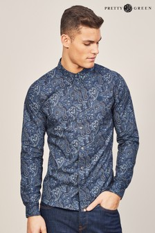 Pretty Green Navy Lescott Paisley Shirt