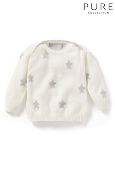 Pure Collection White Cashmere Baby Sweater